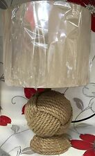 Coastal Nautical Vintage Style Rope Knot Table Lamp Linen Drum Light Shade NEW