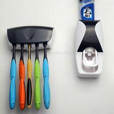 Automatic Toothpaste Dispenser +5 Toothbrush Holder Set Wall Mount Stand UK