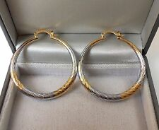 18ct Yellow and White Gold GP 40mm Creole Hoop Earrings.