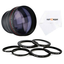 58mm 2.2x HD MC Telephoto Zoom Lens + Filter Adapter Ring for Canon 1200D 700D