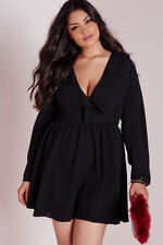 Sexy Plus Size Black Frill Swing MINI DRESS Evening Party Club Wear Sz 2XL / XXL