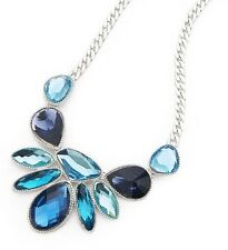 Blue Glass Stone Silver Curb Chain Statement Necklace