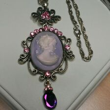 Vintage Victorian Style Rhinestone Classic Lady Cameo Beautiful, Pink and Purple