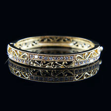 18k Gold plated Swarovski crystals filigree solid bangle bracelet