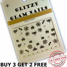 3D INNCY WINCY SPIDERS WITH GOLD ORBS HALLOWEEN COBWEBS NAIL ART STICKERS (H3)