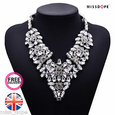 NEW CRYSTAL SILVER LUXURY MULTI LAYER NECKLACE WOMENS LADIES STATEMENT BIB CHARM