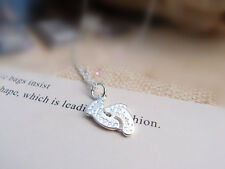 925 Sterling Silver Plated Foot Print Charm Pendant Necklace Ladies Girls Gift