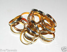 20 Brand New Gold Band Rings with Silver Detailing