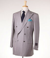 NWT $5495 D'AVENZA Dormeuil 'Pashmina' Gray Herringbone Wool-Cashmere Suit 40 R