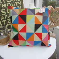 CUSHION COVER GEOMETRIC RETRO LINEAR DUCK EGG RED URBAN RED ELMER KALEIDOSCOPE .