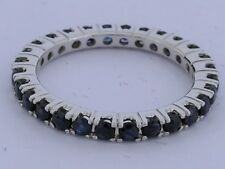 R122 Genuine 9K SOLID White Gold NATURAL Sapphire FULL Eternity Ring Band size M