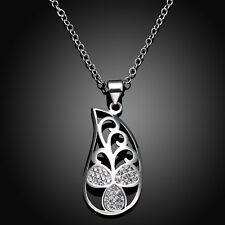 Women Silver Filled Rhinestone Lovely Flower Pendant Valentine Gift Necklace