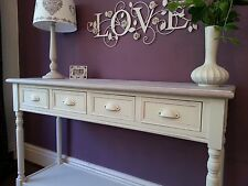 Cream Console Table Sideboard Server 4 Drawers Country Cottage Tables Wood Shelf