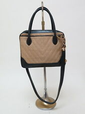 Chanel Vintage Bag Quilted Burlap and Leather Small Tote Natural/Black