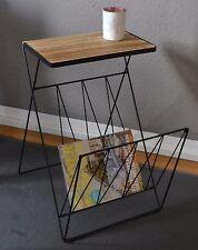 Design Beistelltisch Magazinhalter mit Ablagefläche klappbar schwarz