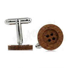1 Pair Chic Funky Wooden Button Cufflinks Vintage Style Mens Party Wedding Gift