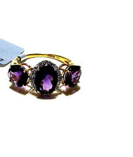 10K Yellow Gold Purple Amethyst Oval & Round 3-Stone with W. Zircon Ring, Size 6