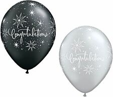 """25 x 11"""" Congratulations Black & Silver Latex Balloons Ideal Party Decoration"""