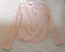 LADIES VINTAGE LARGE ABERCROMBIE & FITCH WHITE PINK STRIPED LONG SLEEVE SHIRT
