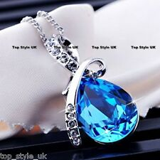 Tear Necklace with Blue Crystal Diamond Gift present for her Girl Wife Daughter