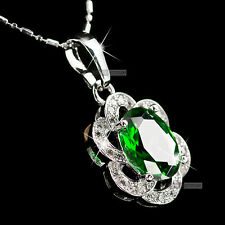 18k white gold gp green genuine SWAROVSKI crystal pendant necklace