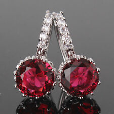 18ct white gold filled garnet Ruby Coloured Leverback simulated diamond earrings