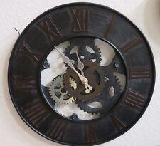 Wanduhr Metalluhr Uhr Zahnrad Metall rund grau braun silber
