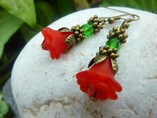 Women's Dainty Vintage Style Christmas Flower Dangle Earrings Costume Jewellery