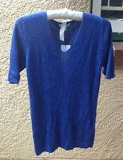 Womens New Blue Knit Top Blouse Size 8 XS Ladies Cotton Blend Designer RRP $89