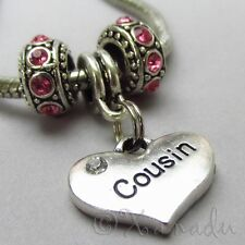 Cousin European Charm Pendant Heart n Birthstone Beads For Large Hole Bracelets