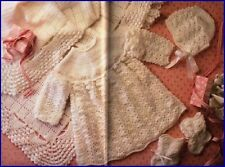 Baby Crochet Pattern LAYETTE in  4 Ply SHAWL Dress Bonnet Bootees