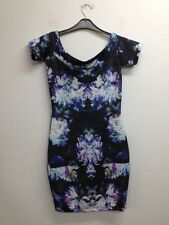 Atmosphere - Black/Blue/Purple Floral Bodycon Dress Size UK 8 (O895) BNWT