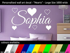 Personalised Wall Art - name decal - Hearts - Large 1000x560mm