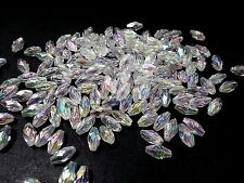 250pcs 10mm x 6mm Acrylic Faceted RICE Oval Beads  - CLEAR Iridescent AB