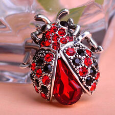 Vintage Jewelry Women Insects Beetle Ruby Antisilver Crystal Bouquet Brooch Pins