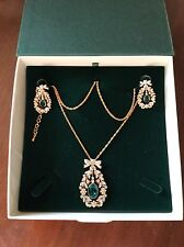 CRISTALINA 24K Gold Plated Emerald and Swarovski Crystal Necklace and Earrings