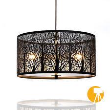 Deckenlampe Natura | Wald | Ø40cm | Designer Hängeleuchte | Schwarz | Milchglas