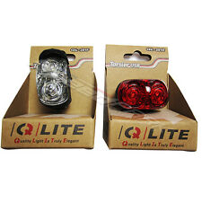 Q-LITE LEDs Charging by USB Front / Head White Light + Rear / Tail Red Light set