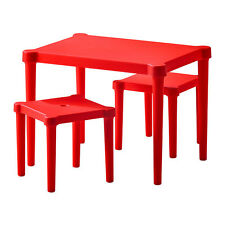 IKEA RED CHILDREN TABLE AND CHAIRS STOOL PLASTIC FURNITURE PLAY PARTY SET