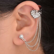 Classic 1PC Heart Silver Plated Left Ear Chain Stud Wrap Clip Cuff Earring