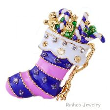 Fancy Unique Christmas Gift Women Brooch Pin Crystal Rhinestone Gold Jewelry New