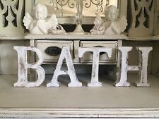 """LARGE SHABBY CHIC VINTAGE WHITE WOODEN""""BATH"""" NAME  GIFT SIGN SAYING FREESTANDING"""