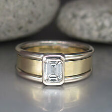 Solitärring Ring mit 0,51ct Diamant TW-p1 Emerald-Cut in 750/18K Weiß-/Gelbgold