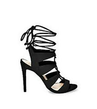 STEVE MADDEN Heels Gladiator Sandalia Leather Wrap Black Suede High Strap BRAZIL