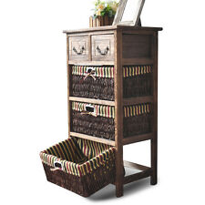 Wooden Frame Wicker basket Drawer Storage Unit Bed bathroom Organizer G140-4