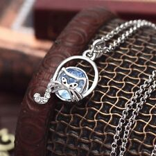 Brand New Austria Crystal Shiny Silver Blue Cat Necklace Chain Pendant Jewellery