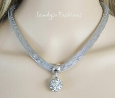 % TOP Collier Kette Halskette mit Shambala Anhänger Kristall Strass Silber -K17