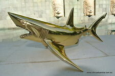 """large GREAT WHITE SHARK solid polished BRASS hollow statue 16"""" display 40 cm"""