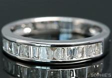 0.63 CT Baguette Natural Diamond Channel Wedding Band Ring 18K White Gold Size T