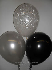 30 Happy Engagement Helium or Air Balloons Clear Black Silver Party Decorations